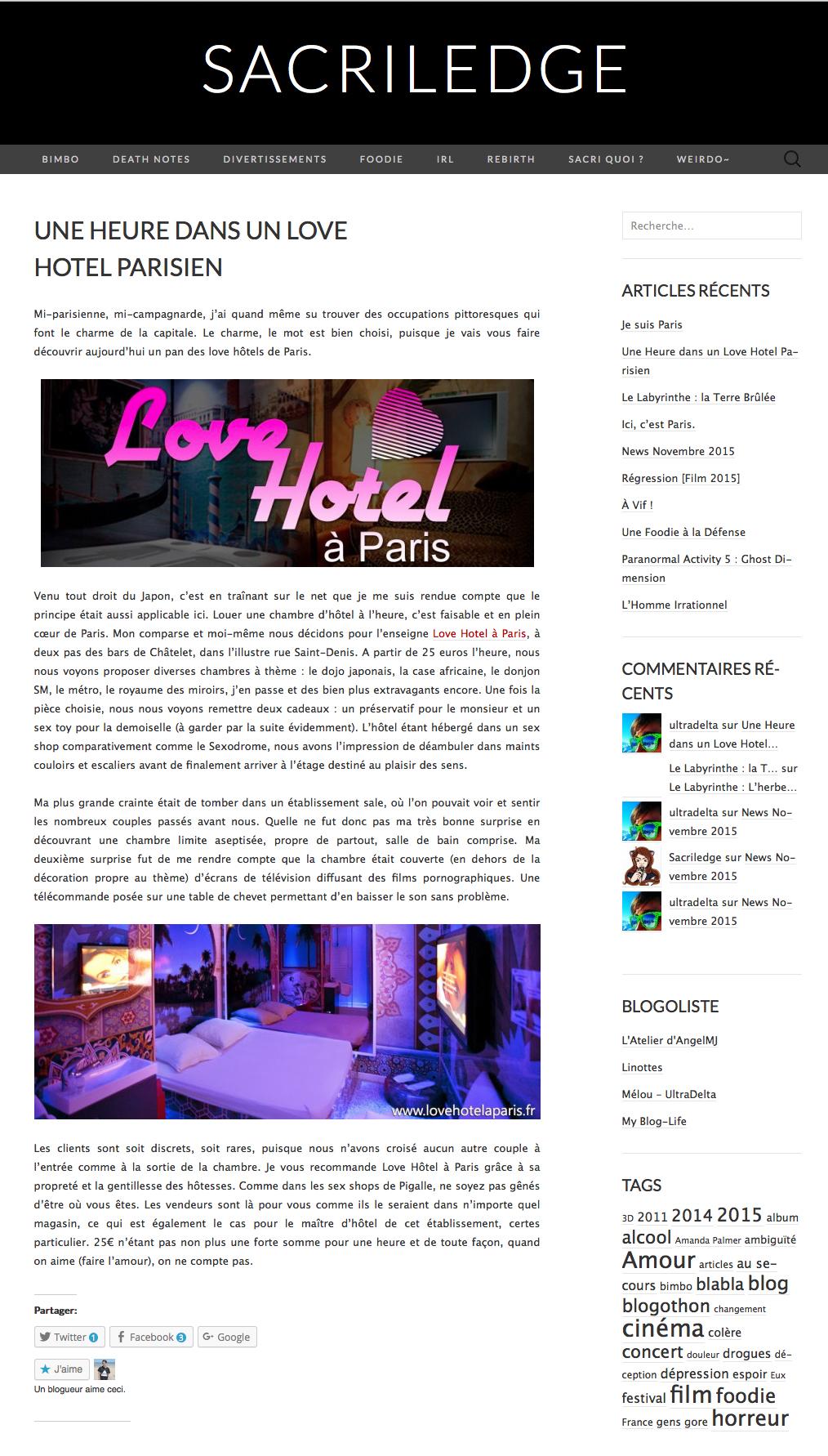 Sacriledge a testé le Love Hotel
