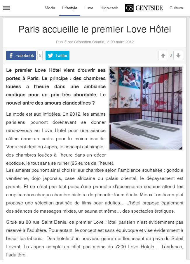 article gentside sur le love hotel a paris