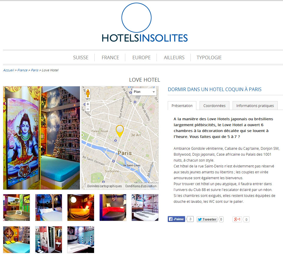 article hotel insolites lovehotel à paris