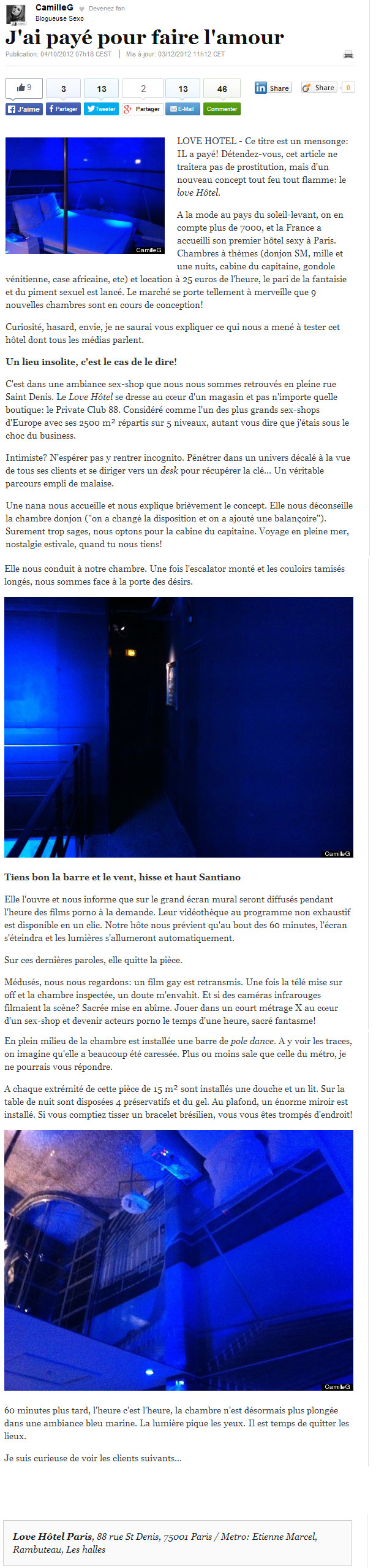 article du huffington post sur le love hotel