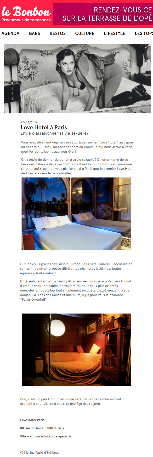 "article du magazine ""le bonbon"" sur le love hotel"