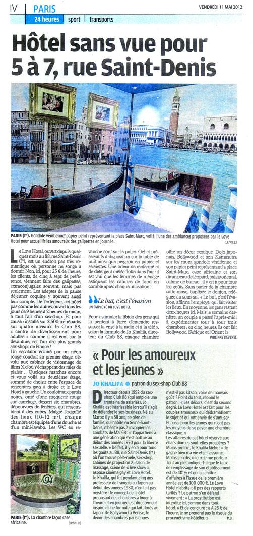 Le Parisien parle du Love Hotel