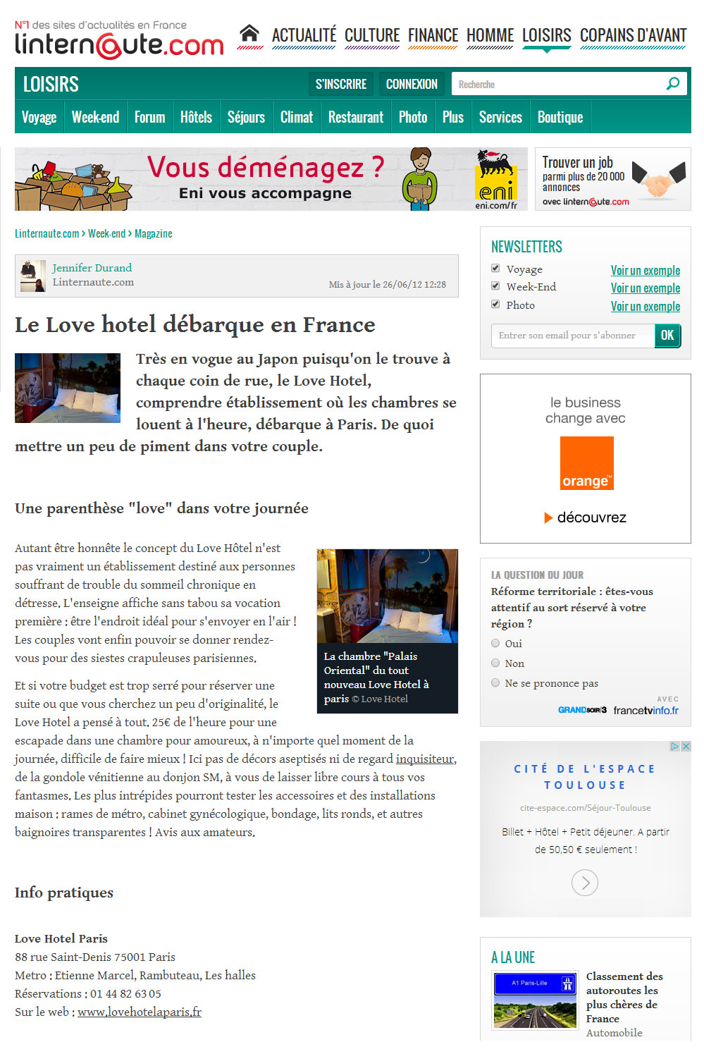 article l'internaute sur le love hotel à paris