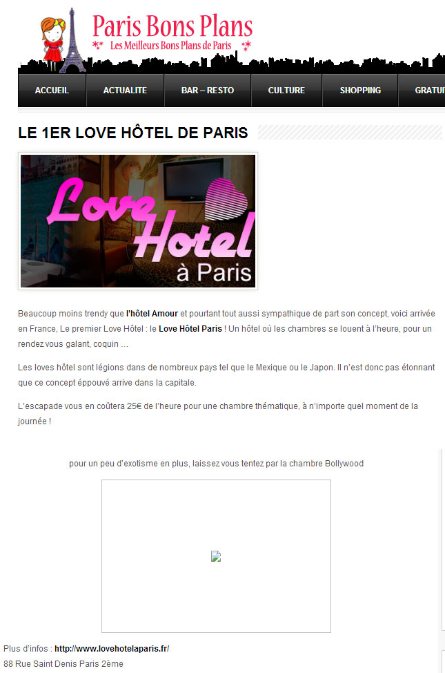 article paris bon plan sur le love hotel